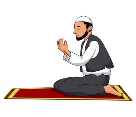 Illustration of A Muslim Man Praying on white background Vector Illustration