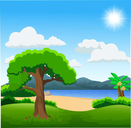 Nature illustration with green forest, calm lake and mountains Stockfoto - 115606658