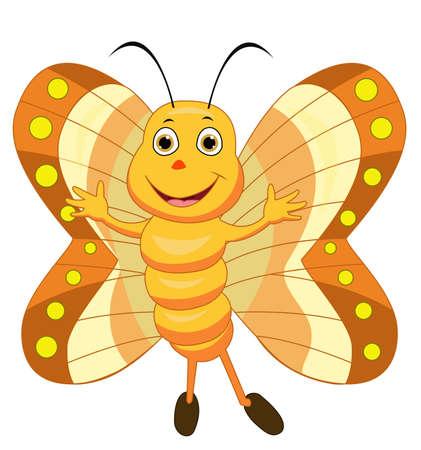 Cute Butterfly Cartoon Illusztráció