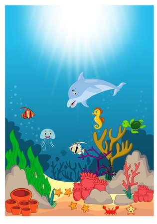 Beautiful Underwater World Cartoon
