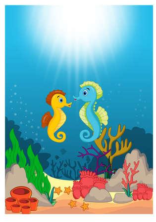 Seahorse in Beautiful Underwater World Cartoon