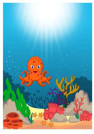Octopus in Beautiful Underwater World Cartoon