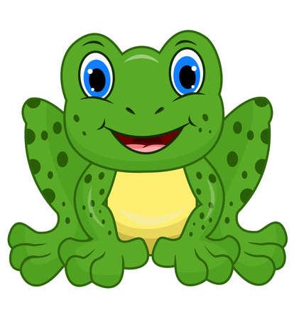 Cute frog cartoon isolated on white background Illustration