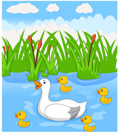 Duck cartoon swims with her four little cute ducklings in the river