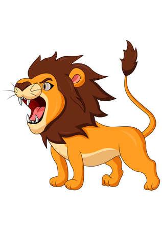 Cartoon lion roaring Ilustração