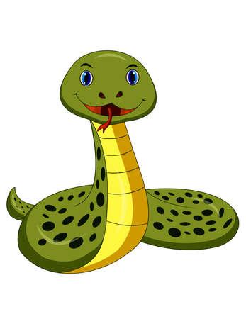 Cartoon happy snake isolated on white background Illustration