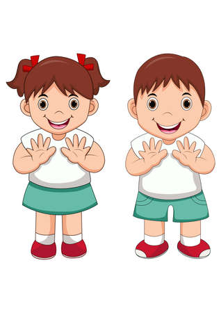 Happy little school kids cartoon