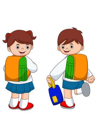 Happy school kids go to school