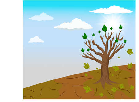 Global warming and A single tree left in climate change Vector Illustration