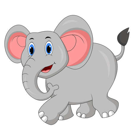 Cute elephant cartoon walking