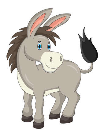 Cartoon cute donkey isolated on white background Illustration