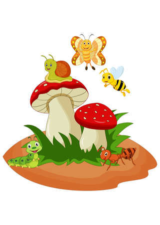 Cartoon funny insects with mushroom