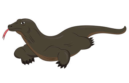 Cartoon komodo dragon isolated on white background