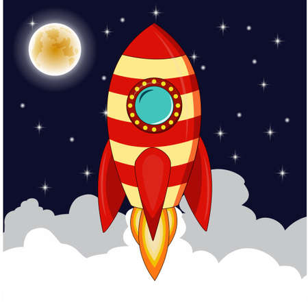 Rocket goes up in the sky with moon stars,Planets and night sky with rocket goes up representing rise of business