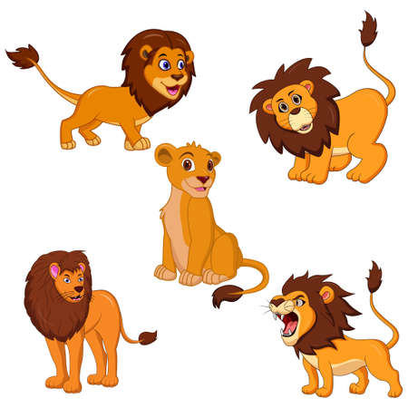 Vector illustration of Lion cartoon set collection Illustration