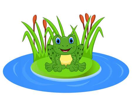 Cartoon kikker op een blad in de vijver