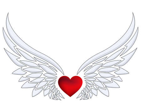 Red heart with angel wings Imagens - 119670587