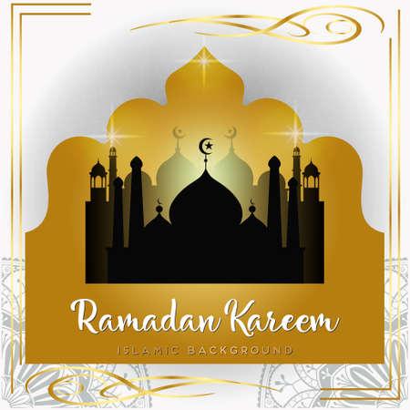 Ramadan Kareem beautiful greeting card with arabic calligraphy template