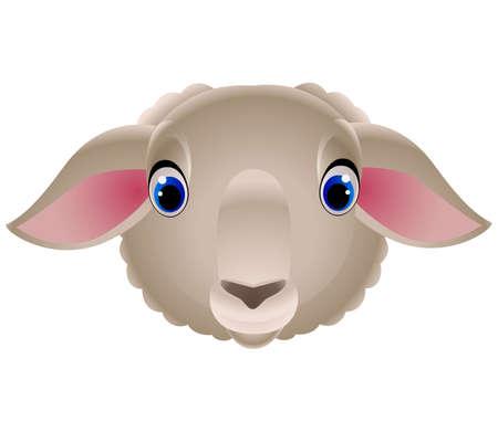 Vector. Isolated cartoon sheep head. Closeup