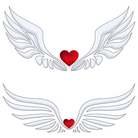 Set of Red heart with angel wings Ilustrace