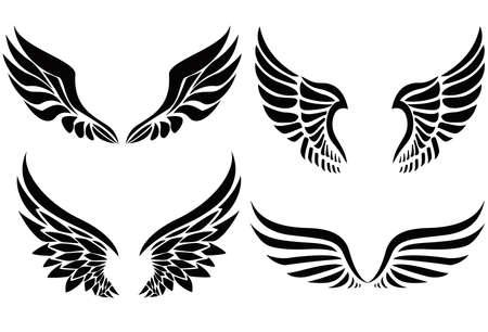 Collezione di emblemi di ali di sagoma nera