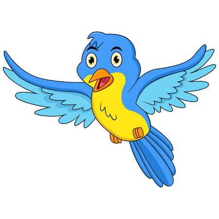 Happy blue bird cartoon flying Vectores