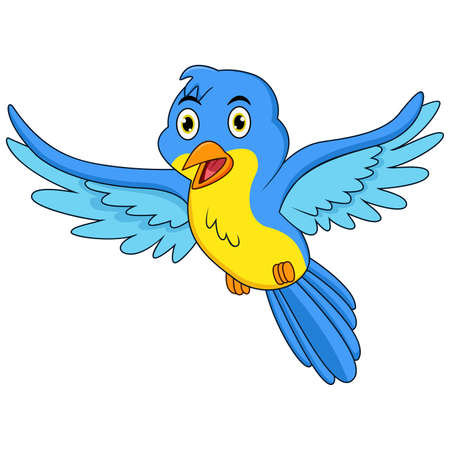 Happy blue bird cartoon flying Illustration