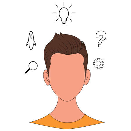 Human head with gears and icons. Concept of thinking. Flat illustration