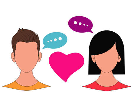 Illustration of People Chat Icon with love Illustration