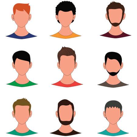Male avatar human faces vector illustration