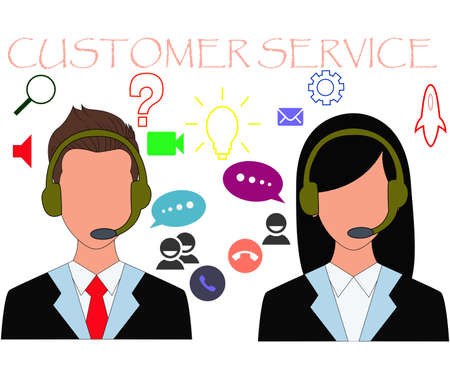 Illustration of customer service icon in flat design