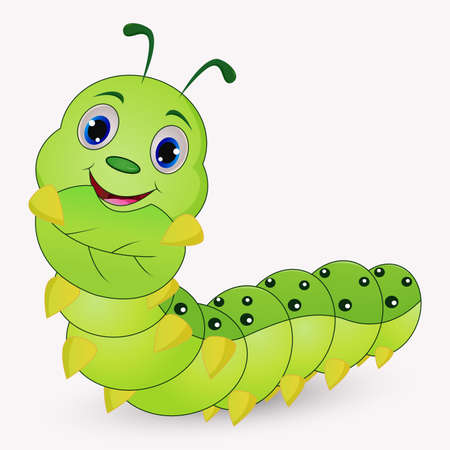 Cute caterpillar cartoon holding leaves