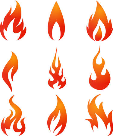 Illustration of Fire icons set Illustration