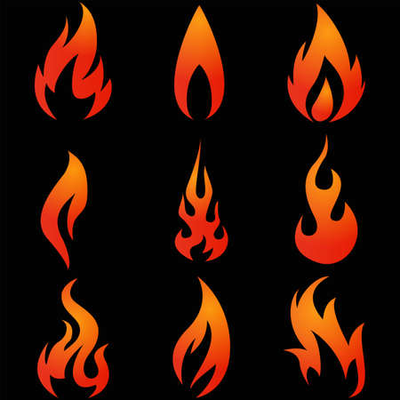 Illustration of Fire icons set on black background Illustration