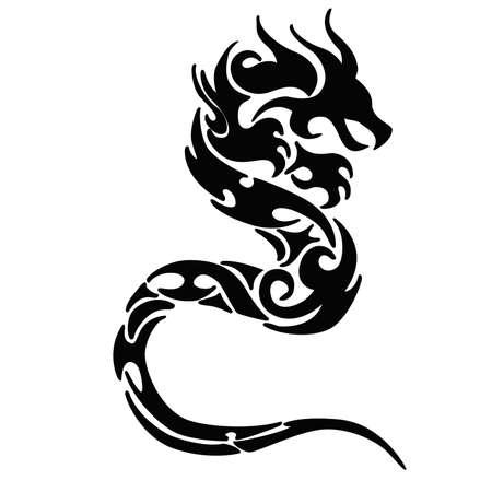 Illustrazione del tatuaggio del logo del drago Logo