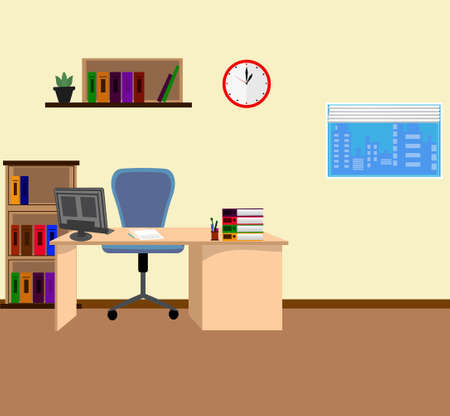 Office interior in flat style vector illustration
