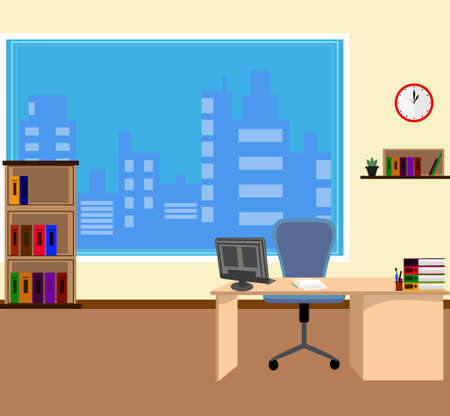 Office interior in flat style. Modern business workspace with office furniture: chair, desk, computer, bookcase, clock on the wall and window. Vector illustration. Illustration