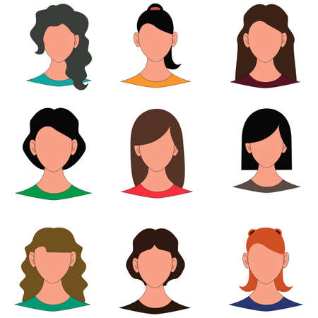 Female avatar faces vector illustration Illustration