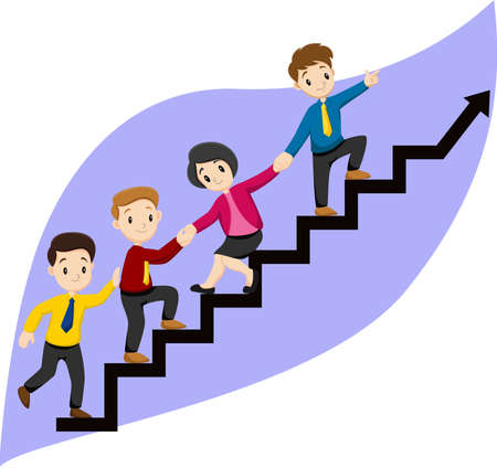 Business people run on up the stairs path to goal Illustration