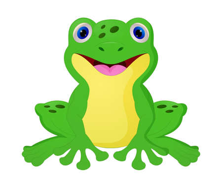 Cute frog cartoon isolated on white background Illustration