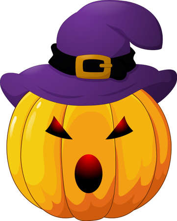 Angry Halloween pumpkin with hat on white background