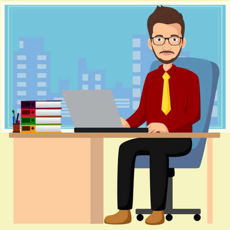Handsome manager working with laptop in office vector illustration
