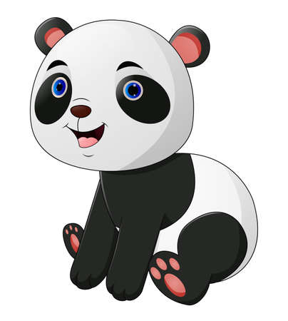 Cute panda cartoon on white background