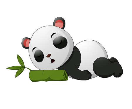 Cute panda sleep on bamboo