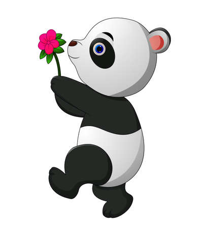 Cute panda bring a flowers Illustration