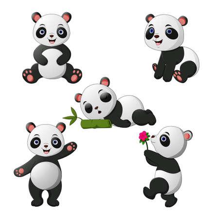 Vector illustration of Cute baby pandas collection Vetores