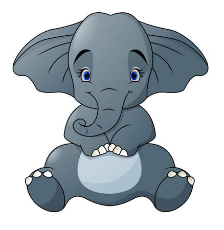Cute baby elephant sitting isolated on white background Illustration