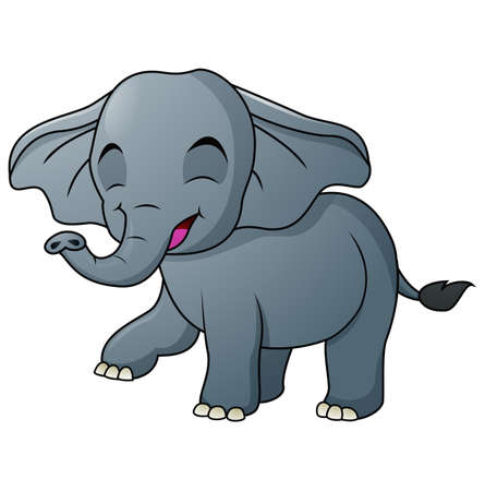 Cute Elephant cartoon  walking on white background Illustration