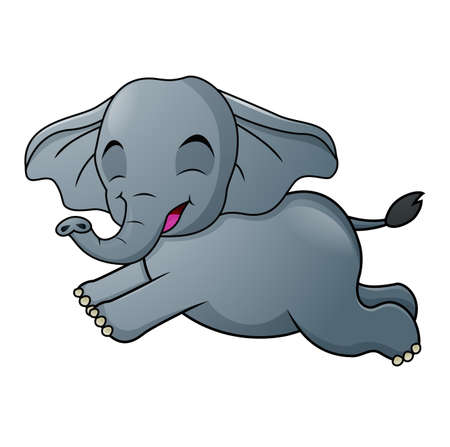 Cute Elephant cartoon running on white background