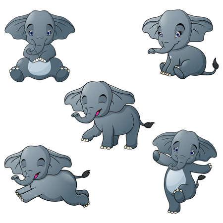 Set of elephant cartoon character isolated on white background
